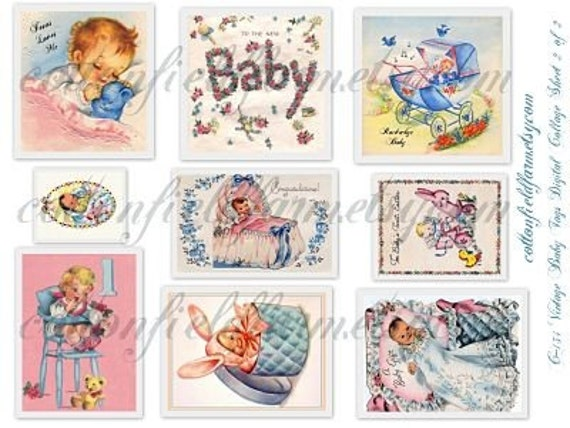 Vintage Baby Tags Gift Cards Scrapbooking Handmade Cards Digital Collage 2 Sheets C-134