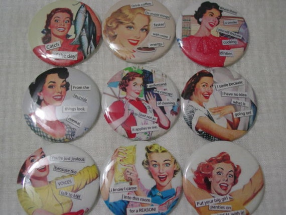 """Reserved Listing for henryeliot Retro Ads with Funny Sayings 2.25"""" Pin Back Buttons for Birthdays, Weddings, Showers, Gifts, Set of 36"""
