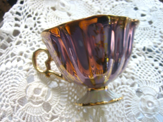 Periwinkle and Gold Lusterware  Tea Cups and Saucers