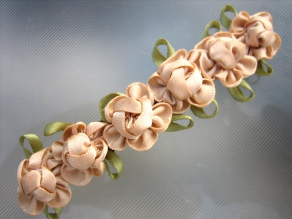 signed french knot flower barrette