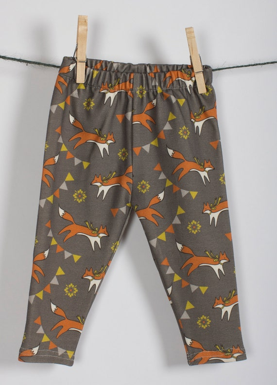 Littlefour organic cotton knit fox print baby leggings Last one size 3 month