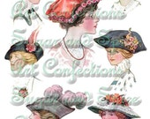 Vintage Ladies In Hats Digital Collage Sheet E-mail Download Victorian Edwardian Paper Dolls, Art Dolls, Altered Art