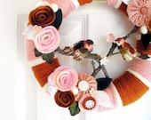 Caramel and Rose Cherry Blossom Yarn Wreath