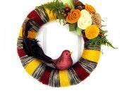 Earth Tone -The Original Felt Embellished Yarn Wreath