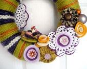 Pistachio and Plum Two Birds Yarn Wreath