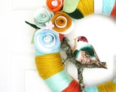 Mustard, Clementine, Aqua and Mint Yarn Wreath - The Original Felt Yarn Wreath -