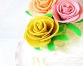 12 Felt Rose Cake Toppers