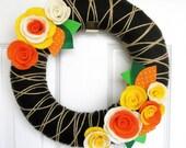 Yarn Juice - Yarn Wreath with Felt Flowers - The Original Felt Yarn Wreath