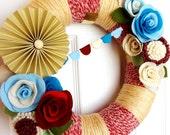 Yarn Wreath - Vintage Americana