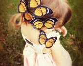 Set of Two Embroidered Monarch Butterfly Clips - Girl Summer Hair Clip Accessory or Flower Girl