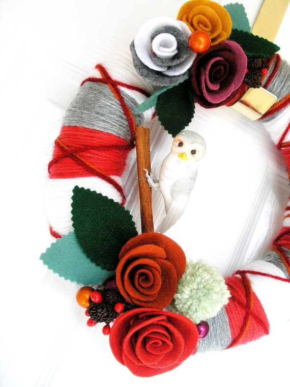 RESERVED-Plaid -The Original Felt Yarn Wreath Handmade