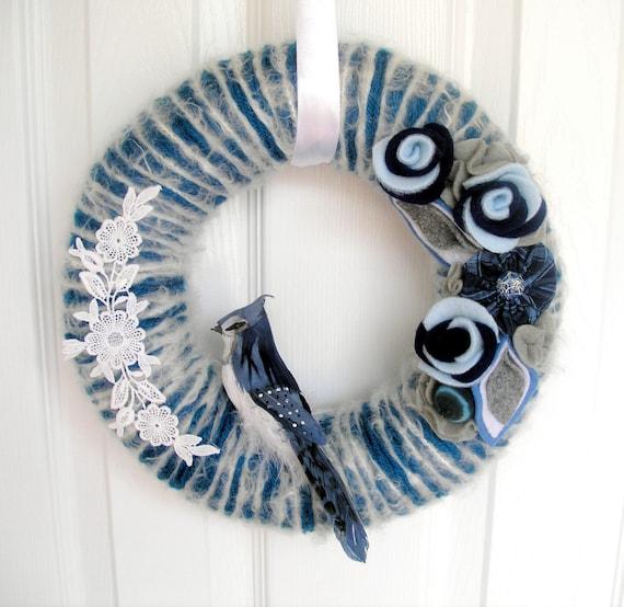 Sapphire Blue Jay Yarn Wreath-FOR ZEE
