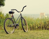 "Bicycle on Beach Photo - ""Summers on the Coast"" - 8x10 Soft Toned Color Photo Print - Beach House Decor Green Pale Seashore"