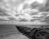 Beach Photo - Dramatic Sky at Penfield Jetty in Fairfield, Connecticut - 11x14 Black and White Nature Photo Print - Beach House Decor