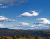 New Hampshire's Lake Winnipesaukee Panorama - 8x20 Color Nature Landscape Photo Print - Scenic Lake Mountains Autumn Blue Sky Decor