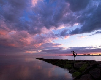 Yoga Art Photo - Lord of the Dance Pose on Beach at Sunset - 8x10 Color Nature Photography Print