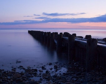 Burying Hill Beach Pier No. 1 - 8x10 Color Nature Nautical Photo Print - Purple Pink Soft Hues - New Engand Beach Art