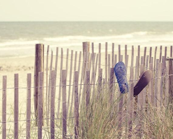 Life's a Beach - Sand Dune Fence with Flipflops - 8x10 Soft Color Nature Photo Print - Beach House Decor - South Carolina Seashore Art