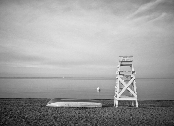 Beach Life Guard Chair Boat Overlooking Sea - 8x10 Black and White or Color Nautical Photo Print - Beach House Decor