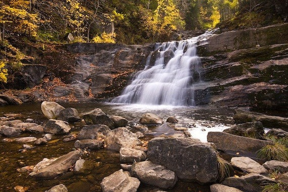 """Connecticut Waterfall in Autumn - """"Kent Falls"""" - 11x14 Color Nature Photography Print - New England Foliage Art"""