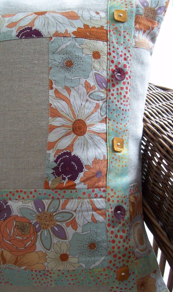 Linen And Floral  18 Inch Pillow Cover