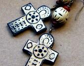 African Cross Dangle Earrings, horn and wood