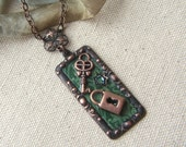 Copper Lock and Key Pendant Necklace Mixed Media Woodland Colors Forest Green Fall Colors