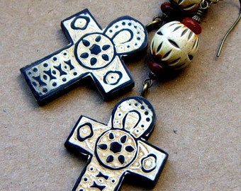 African Cross Dangle Earrings, horn and wood