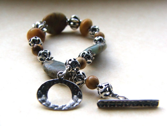 Sterling Silver and Jasper Stone Bracelet Ocean and Sand