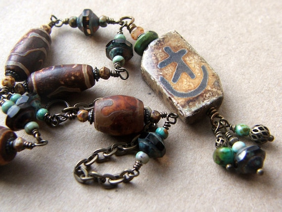 Rustic Stone Necklace, primitive ancient look, tribal jewelry, fall colors