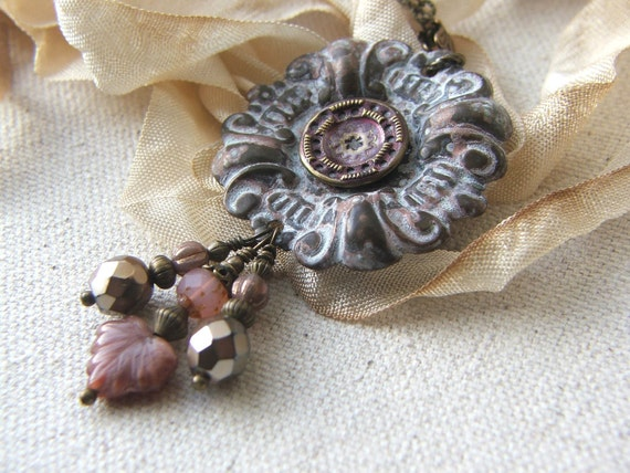 Vintage Button Necklace, Found Object Jewelry, Repurposed