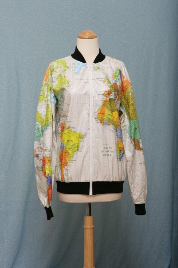 Tyvek WORLD MAP 80s windbreaker jacket VERY UNIQUE size MED
