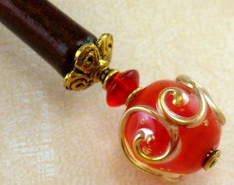 Hairstick Scarlet Scrolls In Artisan Glass