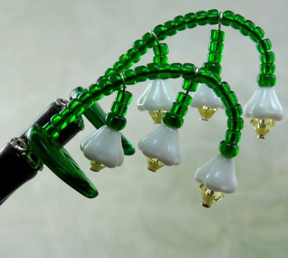 Hairsticks Lily-Of-The-Valley In Czech Pressed Glass And Swarovski Crystal