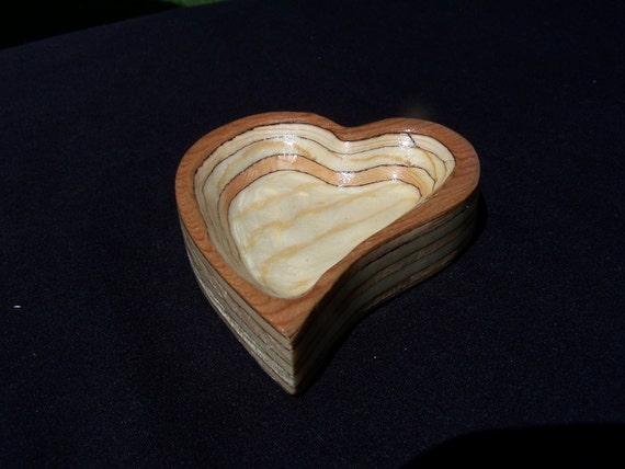 Carved Heart Wood Dish Ring Holder  Anniversary Wedding Gift Keepsake  No 21