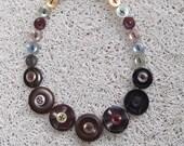 Button necklace, vintage buttons, brown pastel