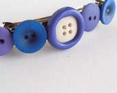 Button hair clip, french barrette hair clip, purple blue button hair clip