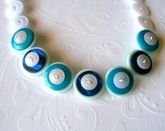 Button necklace, white, blue, aqua