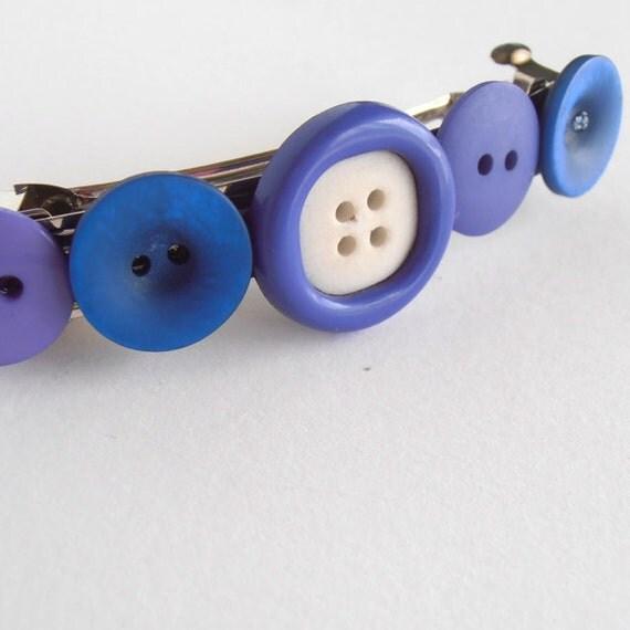 Button hair clip, french barrette hair clip, purple blue button hair clip