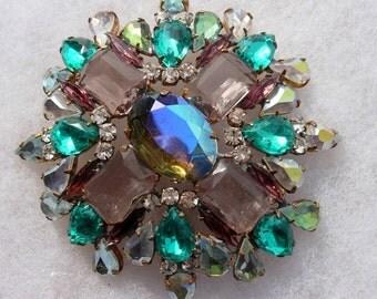 Vintage Crystal Lavendar & Green Rhinestone Brooch or Pin