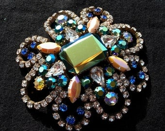 Vintage Pin or Brooch, Blue, Green, Teal Aurora Borealis Crystal