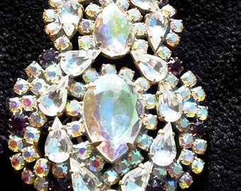 Vintage Pin or Brooch,(AS IS) Aurora Borealis & Purple Czech Crystals, Signed