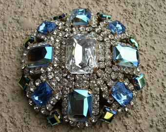 Vintage Pin or Brooch---Aqua or Turquoise, Blue and Clear Crystals