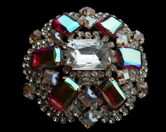Vintage Pin or Brooch---Red Iridescent and Clear Crystals