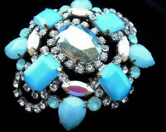 Vintage Pin or Brooch---Aqua or Turquoise Crystals--signed