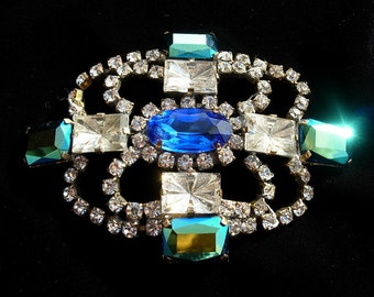 Vintage Pin: Crystal Blue and Turquoise Brooch