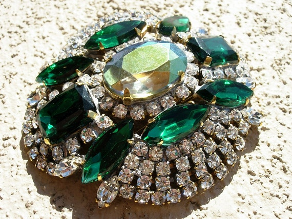 Vintage Pin or Brooch--Green, Frosted and Clear Crystals--signed