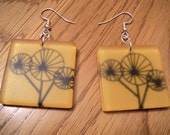 SALE - Yellow and Black Dandelion Dangle Earrings