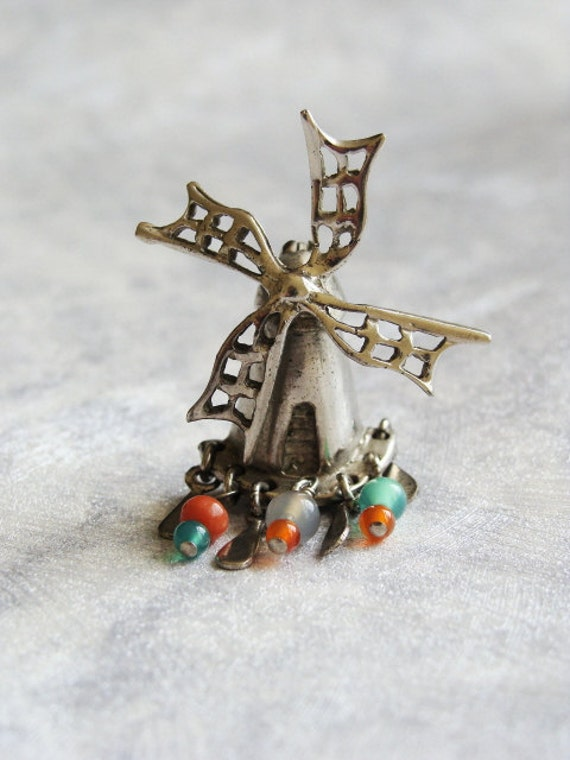 Vintage Windmill Sterling Silver Brooch Pin. 20% OFF Coupon Code.