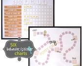Behavior Sticker Charts GIRL PDF - Print at home - Immediate Download